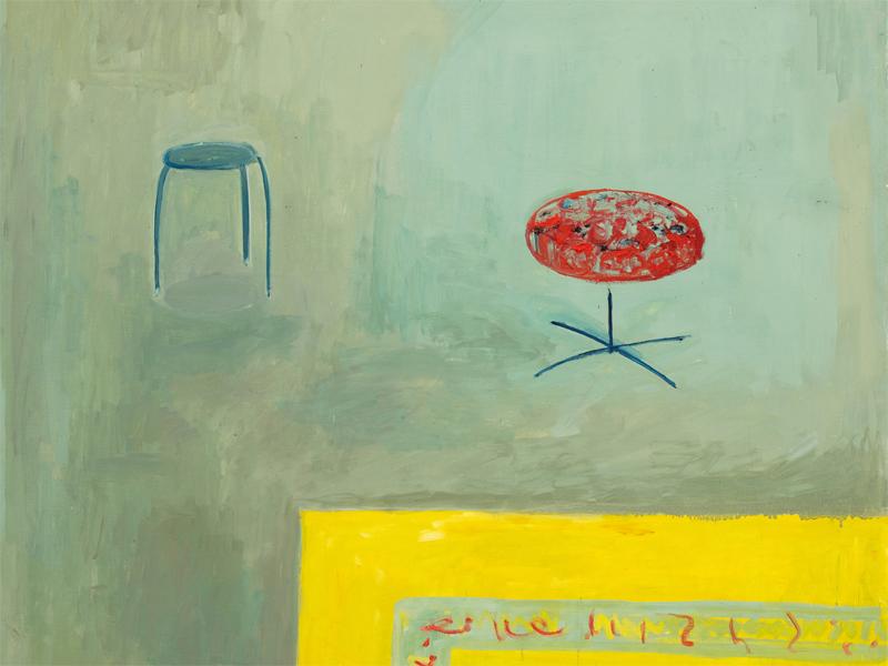 Gemälde mit zwei Jockern und Teppich