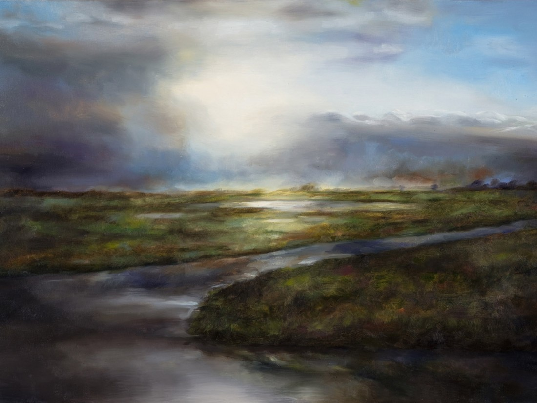 Reflexionen, Ölbild einer Moorlandschaft