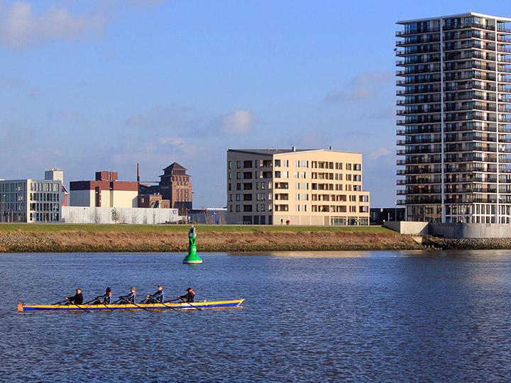 Ruderer auf der Weser vor der Überseestadt