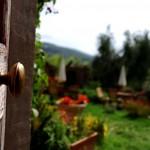 Durch eine geöffnete Tür fällt der Blick auf eine freundliche Gartenlandschaft