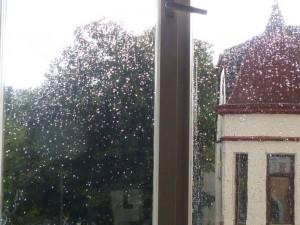 Rgentropfen an einer Fensterscheibe