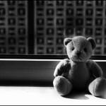 Teddy auf Fensterbank