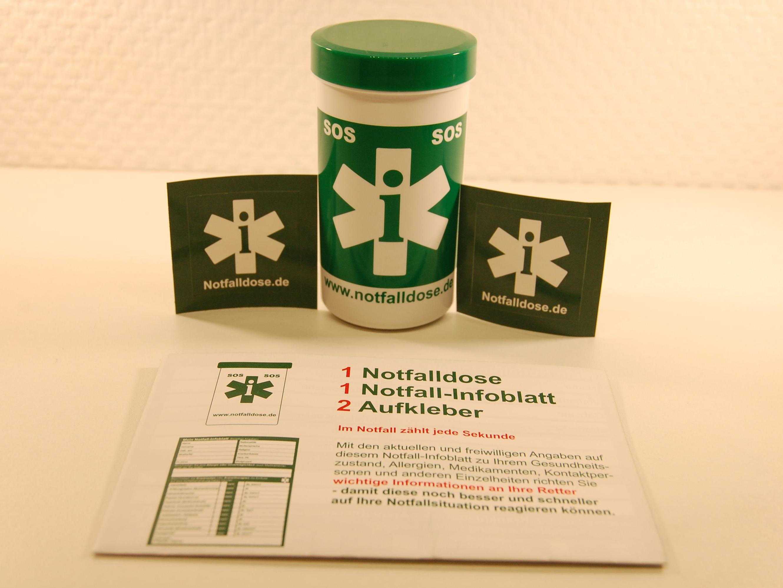 Die Notfalldose verschafft Rettern schnellen Zugriff auf wichtige Informationen zu ihren Patienten. (c) Volbert Domizil