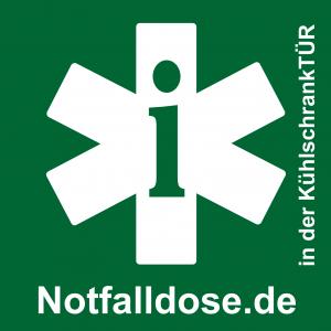Dieses Logo weist Retter auf die Existenz einer Notfalldose hin. (c) Volbert Domizil
