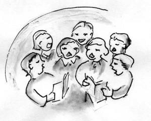Heiliger Abend, zeichnung mit singenden Menschen