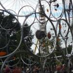Radfahren: Installation aus Fahrradfelgen