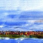mod. Malerei, überladenes Boot