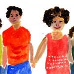 Aquarellzeichnung, vier Personen halten sich an der Hand