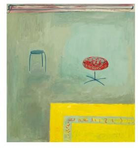 Gemälde mit zwei Hockern und Teppich
