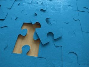 Puzzle in blau
