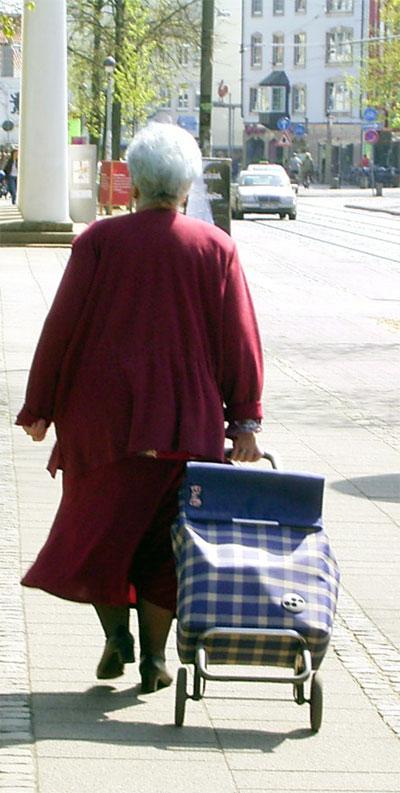 Frau mit Einkaufsrollwagen, Rückenansicht