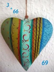 Buntes Herz mit Ziffern hängt an einer Wand