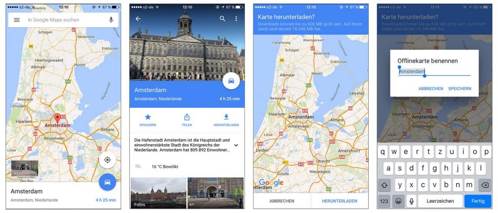 4 Ausschnitte aus Google Maps