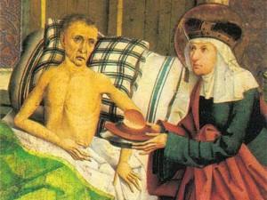 Gender Care Gap Gemälde mit St. Agnes bei einem Kranken (Ausschnitt)