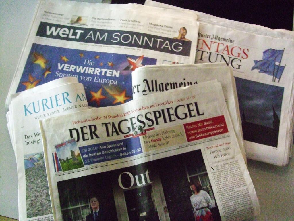 Unwort, Titelseiten verschiedener berliner Tageszeitungen