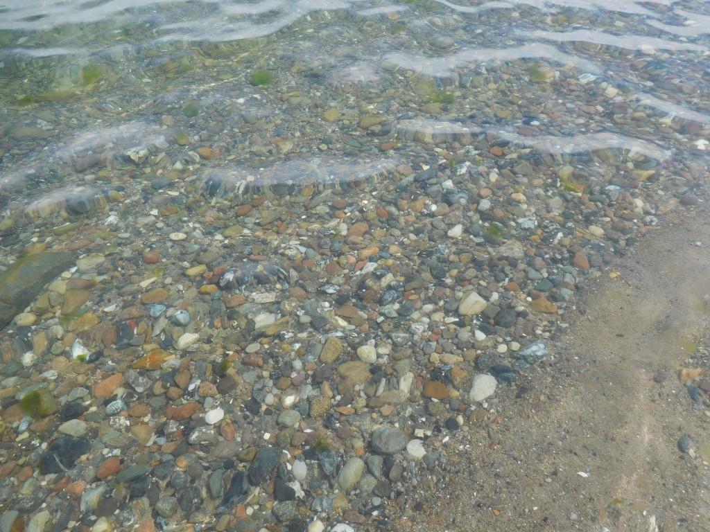 Kiesel auf dem Flussgrund