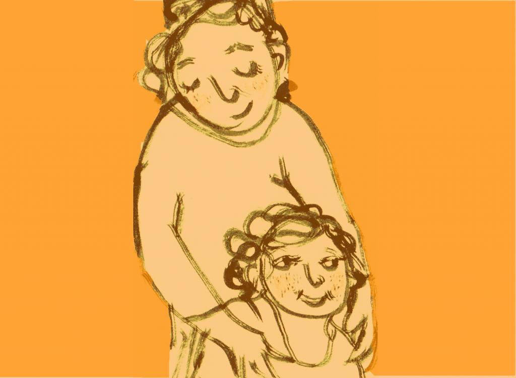 Die neuen Großeltern, Zeichnung Mutter und Kind