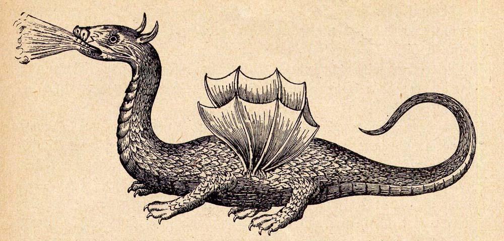 Antike Zeichnung eines Drachens