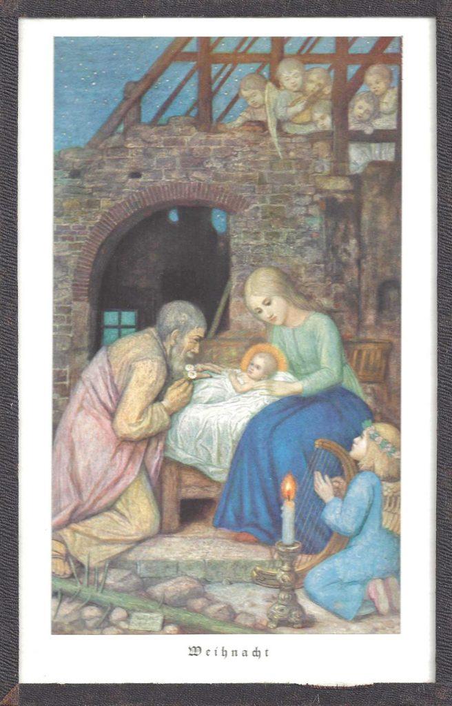 Krippenbild Gemälde von Maria, Josef und dem Christkind