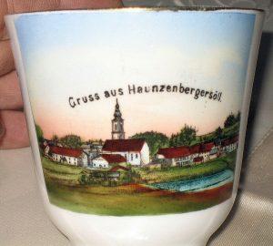 """Sammeltassen, Tasse mit Aufschrift """"Gruß aus Haunzenbergersöll"""""""