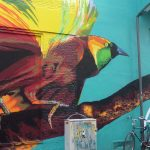 Graffiti, bunter Vogel
