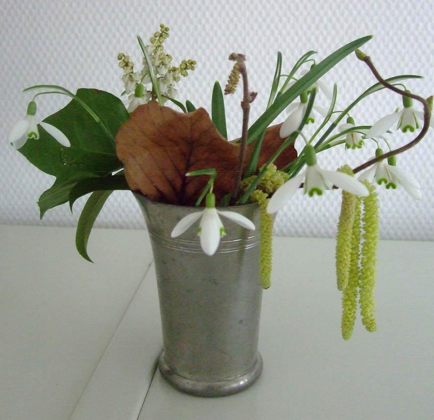 Schneeglöckchen und Korkenzieherhasel in einer Vase