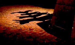 Schatten der Stadtmusikanten auf dem Kopfsteinpflaster