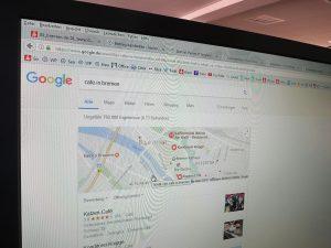 Bildschirm mit Google-Suche