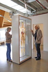 Mann und Frau vor Ausstellungstafel
