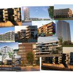 Collage aus Hausansichten moderner Gebäude