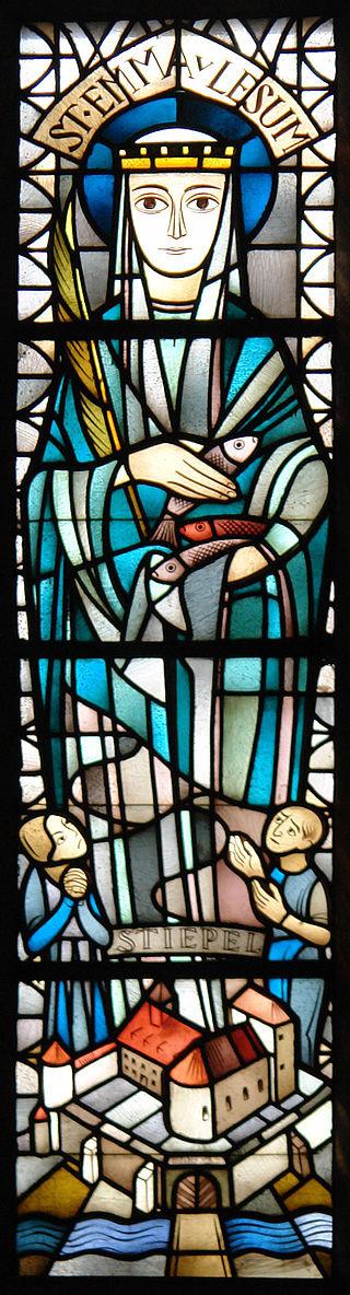 Glasfensterbild einer Frau im Mittelalter