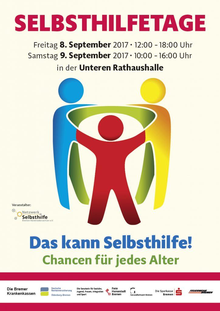 Selbsthilfetage, Plakat mit drei Stilisierten Personen, die sich an den Händen halten