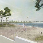 Gezeichnetes Landschaftsbild eines Uferabschnittes
