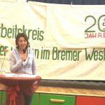 Arbeitskreis Älter werden in Bremen, Frau am Podium