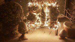 verschneite Pflanzen mit Lichterkette beleuchtet