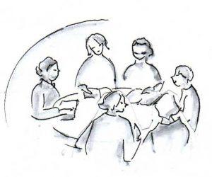 Weihnachten, Sechs lesende Frauen am runden Tisch
