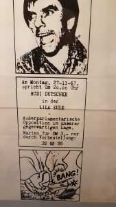 Protest und Neuanfang, Bremen nach 68, historische Plakat zu einem Auftritt von Rudi Dutschke in Bremen am 27.11.1967