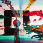 Buntes Gemälde mit Kreis im Mittelpunkt