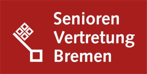 Bremer Schlüssel mit Text Seniorenvertretung Bremen auf rotem Untergrund