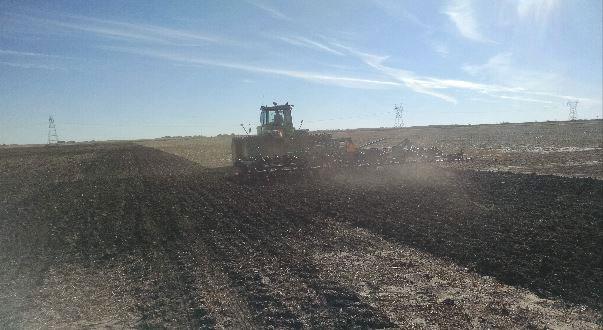 Agrarwende, Landwirtschaftliche Maschine auf einem endlos erscheinenden Feld