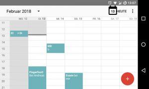 Digitale Kalender, Ausschnitt eines digitalen Kalenderblattes vom Smartphone