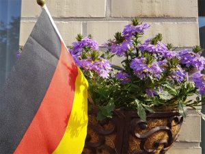 Deutschlandfahne in Blumentopf