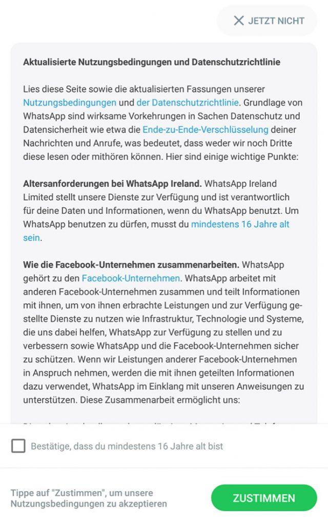 WhatsApp, Textauszug