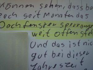 handschriftliche Notiz
